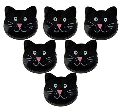 """HOME-X Cat-Shaped Bag Clips for Chips, Kitchen and Laundry, Black Cat-Face Food Bag Clips, 1.75""""L x 1.5"""" W, Set of 6"""