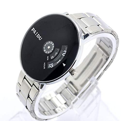 PAIDU Reloj de pulsera de cuarzo con banda de plata, reloj de esfera giratoria negro