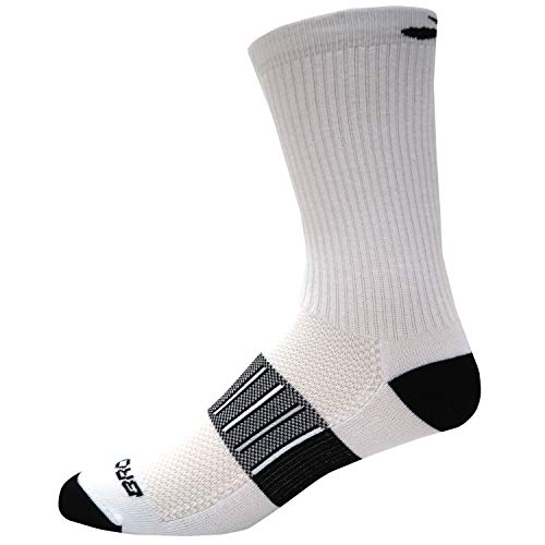 Brooks Ghost Midweight Crew 2 Pack Running Socks White/Black Size Small