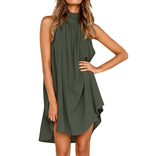 Oiumov Summer Dresses for Women, Womens Sleeveless Plain Print Ruffled Mini Dress Casual Beach Sundress Loose Boho Dress
