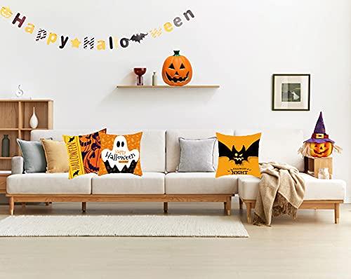 Cxcdxd Fundas de Almohada de Halloween de 18 x 18 Pulgadas, de Lino para Halloween, sofá Cama, Funda de cojín, decoración de Miedo, Truco o Trato de otoño (se Incluyen Inserciones)