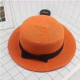 Sombreros de Verano para Mujer Sombrero de Sol Playa Señoras Moda Flat BowknotSeñora Casual Sombreros de Sol para Mujer Sombrero de Paja-Orange-Adult size56-58cm