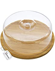 Quesera Redonda con Tapa de Plastico – Caja Queso Madera de Bambú – Ideal para Conservar Frescos tus Quesos - Diámetro Ø 30cm x 10cm