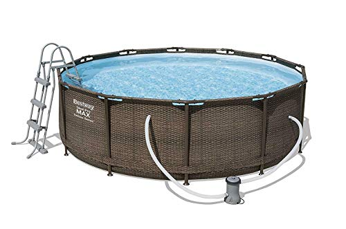 Bestway BW56709GB-21 Steel Pro Max Swimming Pool, with Filter Pump, Rattan Print, 12ft