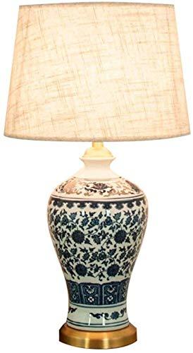 Iluminación / lámpara de mesa Lámpara de mesa de patrón blanco Botella de plum del vintage tradicional Lámpara de la mesa de cerámica Chino moderno Adecuado para villas Estudio de dormitorio (Tamaño: