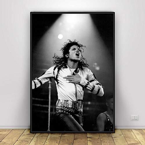 JYWDZSH Leinwanddruck Michael Jackson, Der König Musiker Poster Und Drucke Leinwand Malerei Wand Kunst Bild Wohnzimmer Home Decor Weihnachten Geschenke
