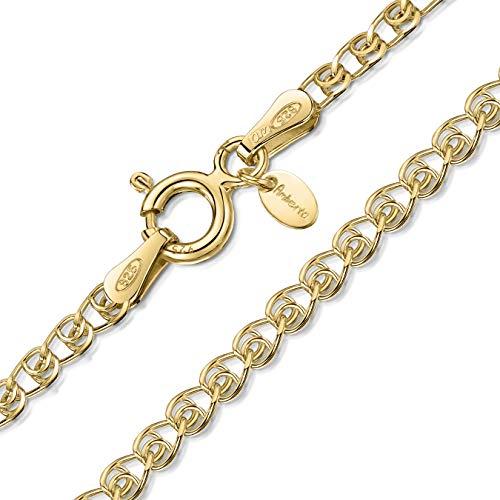 Amberta Catenina Cuore Argento Sterling 925 per Bambini - Placcato Oro 18K - Larghezza 2.3 mm Lunghezza 36 cm