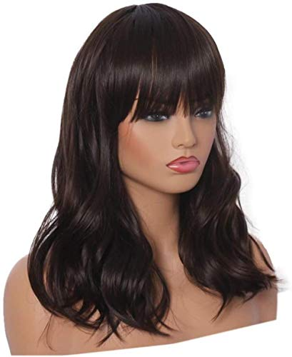 Peluca larga y rizada, color marrn oscuro, para mujer, pelo sinttico completo, con flequillo, para disfraz de Halloween o para la vida cotidiana