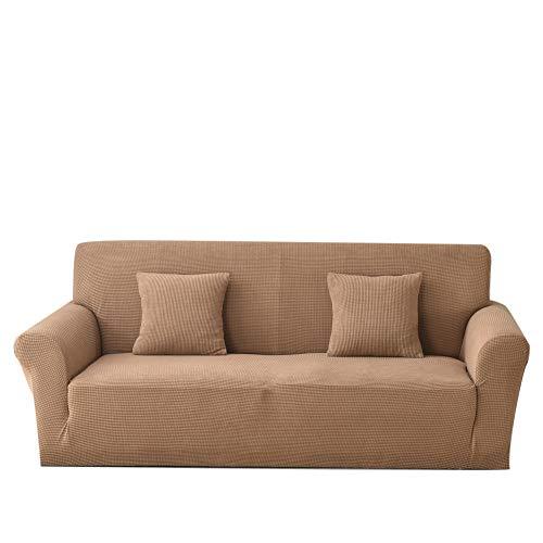 Carvapet Funda de sofá de Tela Jacquard de Punto elástico para Sala de Estar Protección de Muebles (3 plazas, Camel)
