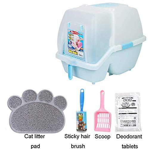 ZXL Flip kattentoilet met afzuigkap en koolstoffilter - eenvoudig te reinigen toilet voor uw kat (kleur: roze-1)