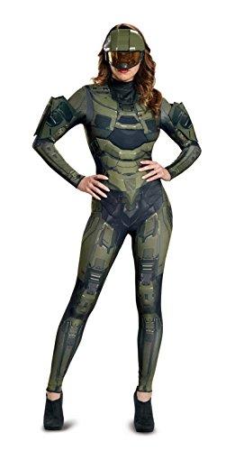 Disguise Women's Master Chief Adult Female Deluxe Costume, Green, M (8-10)