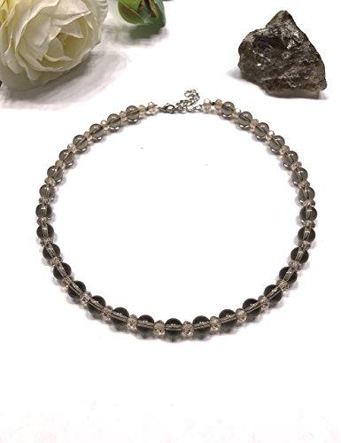 Natural Smoky Quartz and Crystal Beaded Necklace. Bohemian Style. Stone of Power. Root Chakra Balance.