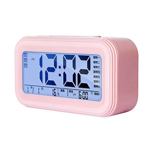 Reloj de mesa Simple Moderno Digital Reloj de alarma LCD Pantalla LCD Snooze Alarma Reloj de Alarma Muden Dormitorio Noche Reloj de Luz de Luz Estudiante Reloj despertador Reloj de estante (Color: Neg