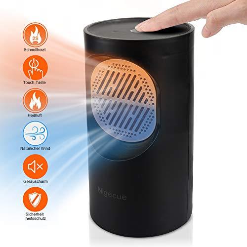 Heizlüfter Warmluft/natürlicher Wind Lüfter Energiesparend Ventilator mit Überhitzungsschutz Raumheizkörper für Schreibtisch Heimbüro Schlafzimmer Touchscreen und Zweifrequenz - schwarz