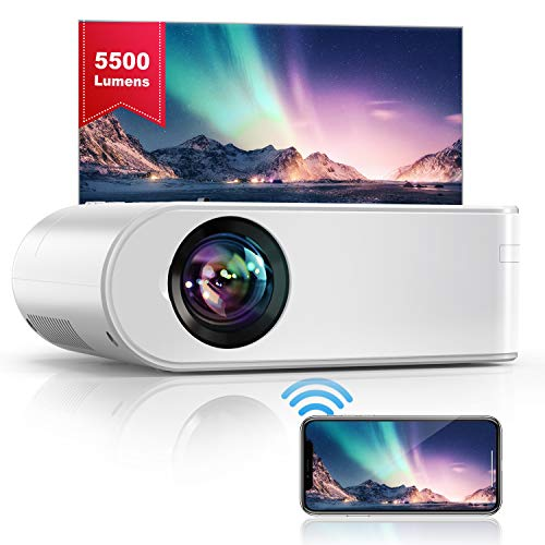 YABER WiFi Mini Projector 5500 Lux Full HD 1080P Supported, Portable Projector with Synchronize Smart Phone Screen for iOS/Android/TV Stick/PS4/PC Home & Outdoor