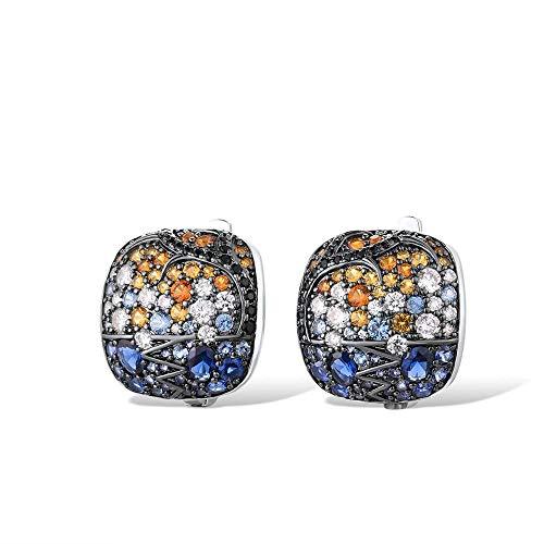 Pendientes de plata para mujer, Plata de Ley 925 pura, piedras naranjas azules brillantes, regalo cuadrado, joyería fina para fiesta