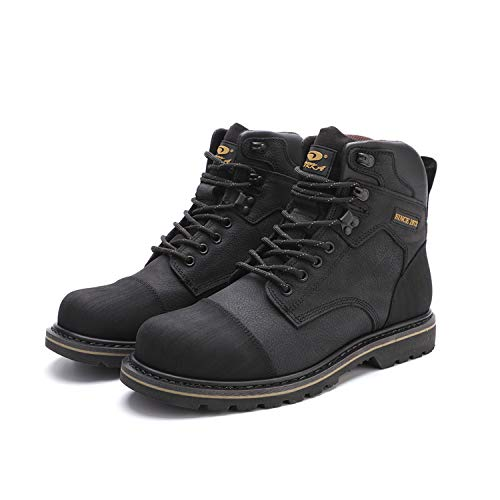 DRKA Men's Genuine Leather Chukka Boots Stylish Mid Top Motorcycle Hiking Boots(20976-blk-47)