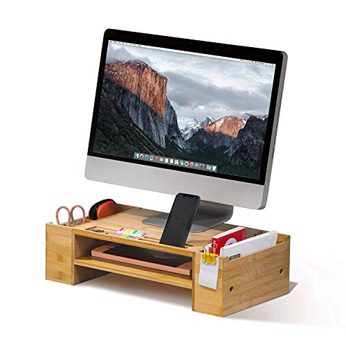 JACKCUBE Design Bamboo Computer Monitor Laptop Stand with Desk Organizer(2 Tier) (Bamboo, 2 Tier : MK436A)