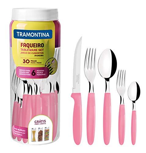 Faqueiro Inox 30 peças Ipanema Rosa Tramontina