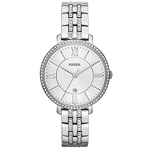Fossil Women's Jacqueline Quartz Stainless Steel Three-Hand Date Watch, Color: Silver Glitz (Model: ES3545)
