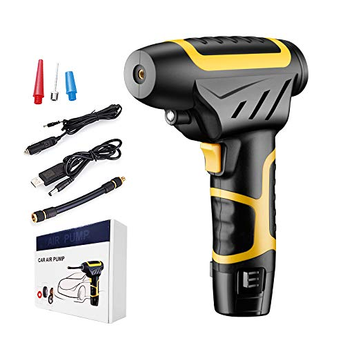 AIAI Portable Air Compressor Mini Air Inflator Hand Held Tire Pump with Digital LCD LED Light Rechargeable lithium battery 2200mAh 120W high power(Yellow)