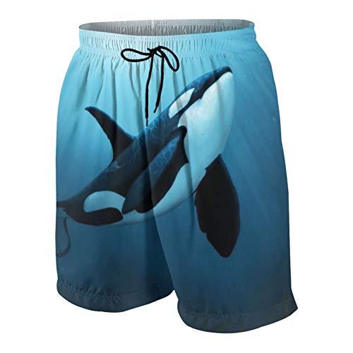 Meiya-Design The Dreamer Orca Print Traje de baño para hombre, traje de baño de surf y playa, pantalones cortos de secado rápido con bolsillos