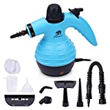 MLMLANT Multi-Purpose Handheld Pressurized Steam Cleaner with 9-Piece Accessory Kit for Multi-Surface Stain Removal, Floor Steamer, Window, Counters, Carpets, Curtains, Car Seats, Upholstery (Blue)