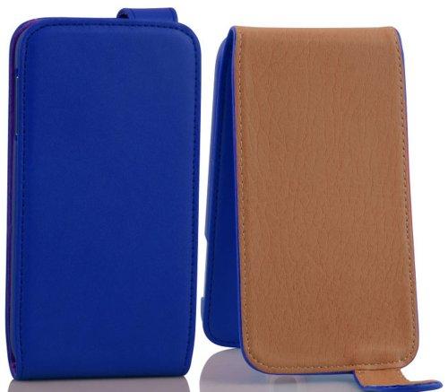 Cadorabo Hülle für Motorola RAZR I - Hülle in Brilliant BLAU – Handyhülle aus glattem Kunstleder im Flip Design - Case Cover Schutzhülle Etui Tasche