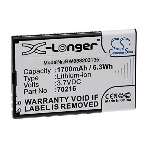 vhbw Batería recargable reemplaza Snow R001710000 para lectura electrónica (1700 mAh, 3,7 V, Li-Ion)