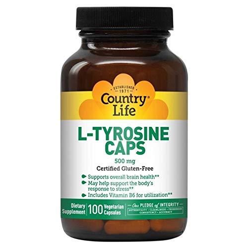 Country Life L-Tyrosine 500mg with Vitamin B-6, 100 Capsules, Amino Acid Supports Brain Health, Gluten-Free, Vegetarian