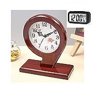 モダンミニマリストミュートテーブル時計卓上時計木製フレームホームリビングルームクリエイティブ卓上時計時計時計装飾品、家庭用品