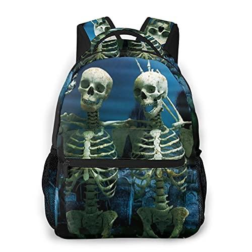 RUPIHU Mochila casual clásica,Esqueleto de calavera aplastante de viento oscuro,Mochila para computadora de negocios grande Mochila escolar universitaria