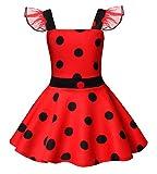 AmzBarley Ladybug Lady Bug Disfraz Niña Bebe Cumpleaños Mariquita Infantil de Danza,Girls Dress Up,Vestido Traje Animal Falda Ropa Escenario Vestir para Fiesta Cosplay Halloween Carnaval 5-6 Años 120