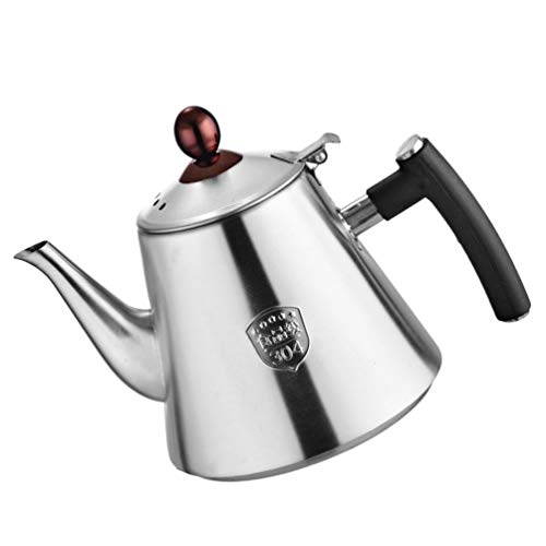 Hemoton Wasserkessel Teekessel Teekanne Wasserkocher Kochkessel Wasserkanne Mini Kessel Herd Induktionsgeeignet Edelstahl Ø 14 cm 1,2 Liter