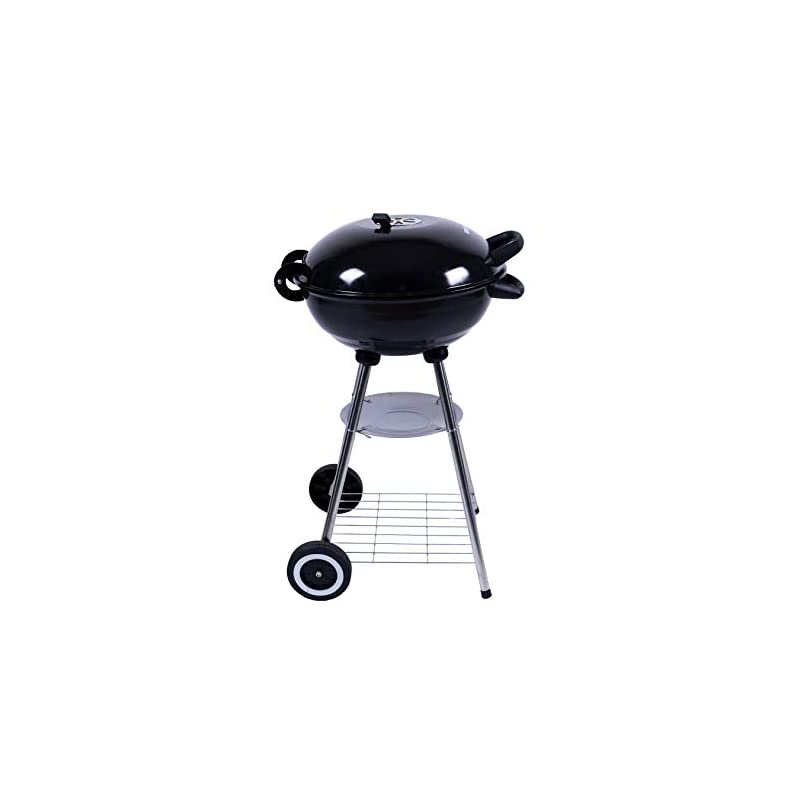 George Foreman GFKTBBQ1801B Portable Round Kettle Charcoal BBQ, Adjustable Vent, 2 Wheels & Chrome Grill