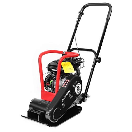 XtremepowerUS 2.5 HP Walk Behind Gas 1920lbs Force Construction Plate Compactor Vibration 79cc Motor LC152F CARB EPA Motor w/Wheel
