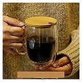 shiqi Vidrio de Doble Pared nórdico Transparente Resistente al Calor Tazas de café Taza de Leche Tazas de Agua con Taza de...