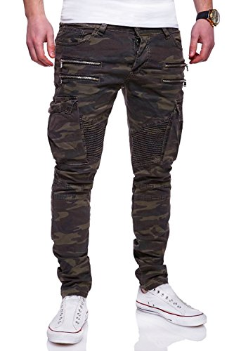 MT Styles Zipper Biker Jeans Slim Fit Camouflage Hose RJ-3196-3 [Khaki, W30/L32]