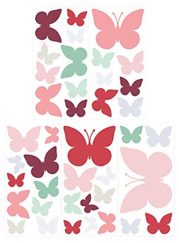 dekodino® Wandtattoo Pastell Schmetterlinge in Frühlingsfarben 40 Stück Deko