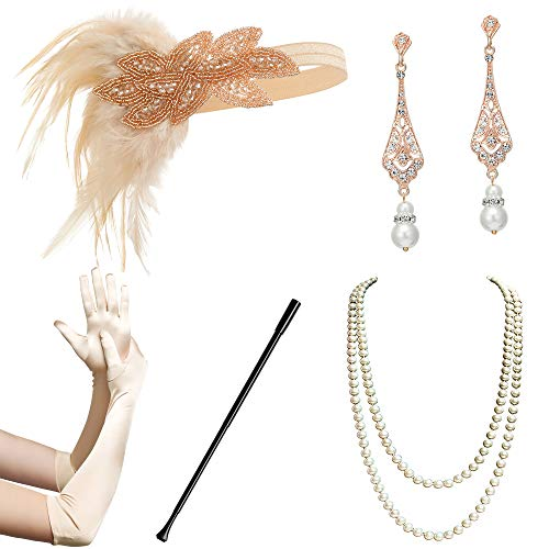 BABEYOND 1920s Flapper Accessories Gatsby Costume Accessories Set 20s Flapper Headband Pearl Necklace Gloves Cigarette Holder (Set-119)