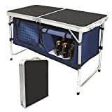 Folding Camping Table with Storage Compartment Aluminum Lightweight Camp Kitchen Table Height Adjustable Indoor/Outdoor Table Perfect for Tailgating, Backyards,BBQ, Party and Picnic