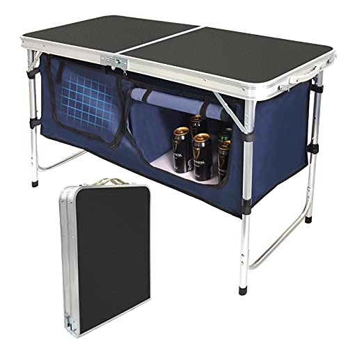Folding Camping Table with Storage Compartment Aluminum...