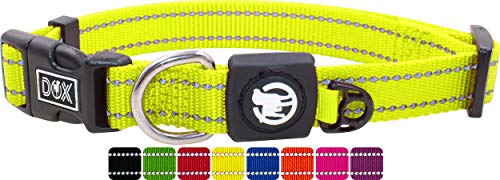 DDOXX Collar Perro Nylon, Reflectante, Ajustable | Muchos Colores & Tamaños | para Perros Pequeño, Mediano y Grande | Collares Accesorios Gato Cachorro | Amarillo, S