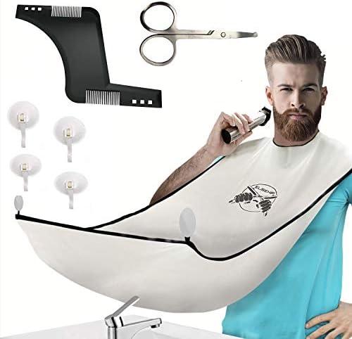 ELISEHIRI Beard Bib Beard Apron for Men Beard Catcher with Hair Comb Scissors and 4 Suction product image