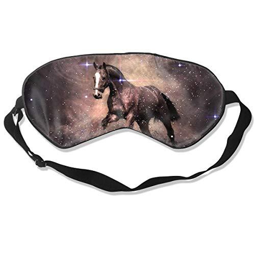 Masque de sommeil, masque pour les yeux, tissu de soie naturelle ultra doux et rembourré de coton, masque de sommeil avec sangle réglable pour homme, femme et enfant, galaxie cheval