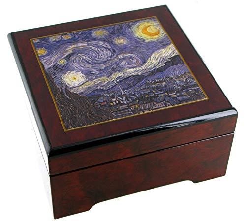 Caja de música para joyas / joyero musical de madera con reproducción de un cuadro famoso - El vals de Johannes Brahms