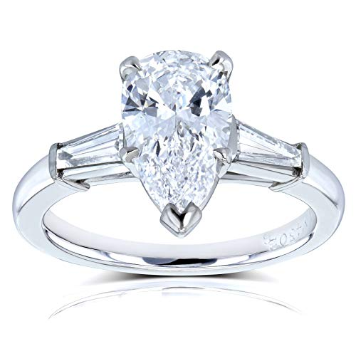 Kobelli Van Cleef Pear Brilliant Diamond Three Stone Engagement Ring 2 1/10 CTW in Platinum (GIA Cer