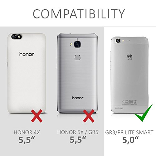 kwmobile Huawei GR3 / P8 Lite SMART Folie - Glas Handy Schutzfolie für Huawei GR3 / P8 Lite SMART - Full Screen Display Schutz - 5