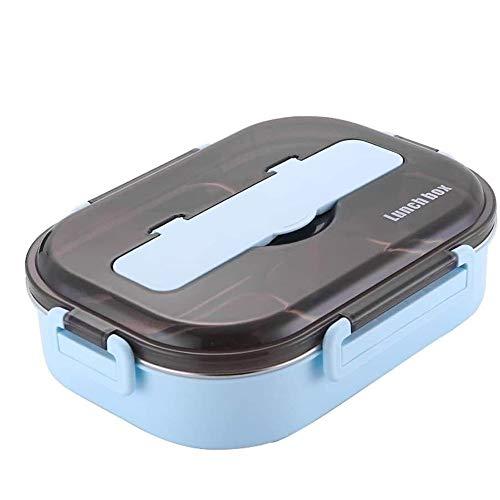 CHENC Caja de almuerzo de acero inoxidable con 2 compartimentos para el almuerzo, a prueba de fugas, apto para la escuela de niños y la oficina de adultos, adecuado para adultos y niños
