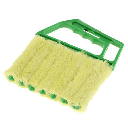 Milageto Waschbares Fenster Venezianischer Staubschmutzreiniger Mini Blind Duster 7 Finger Pinsel - Grüner Griff + grüner Pinsel